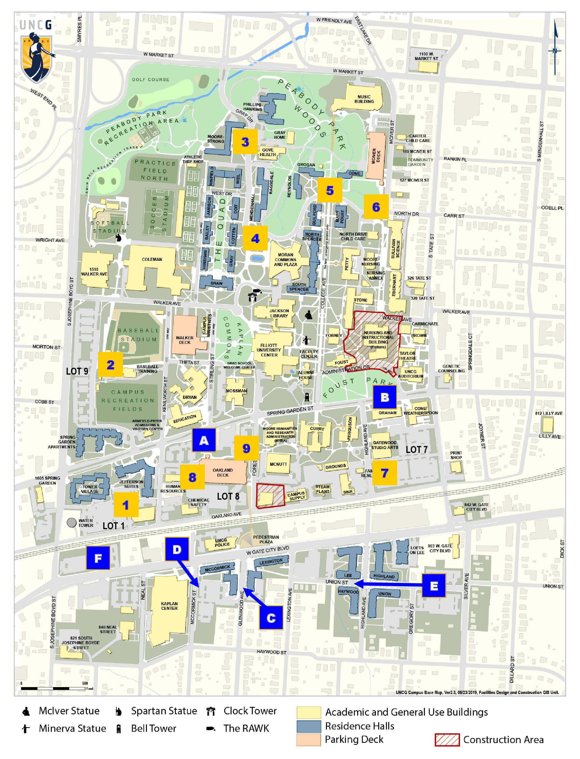 UNCG Fall Move-In Shuttle Map for Thursday (8/15) and Friday (8/16)