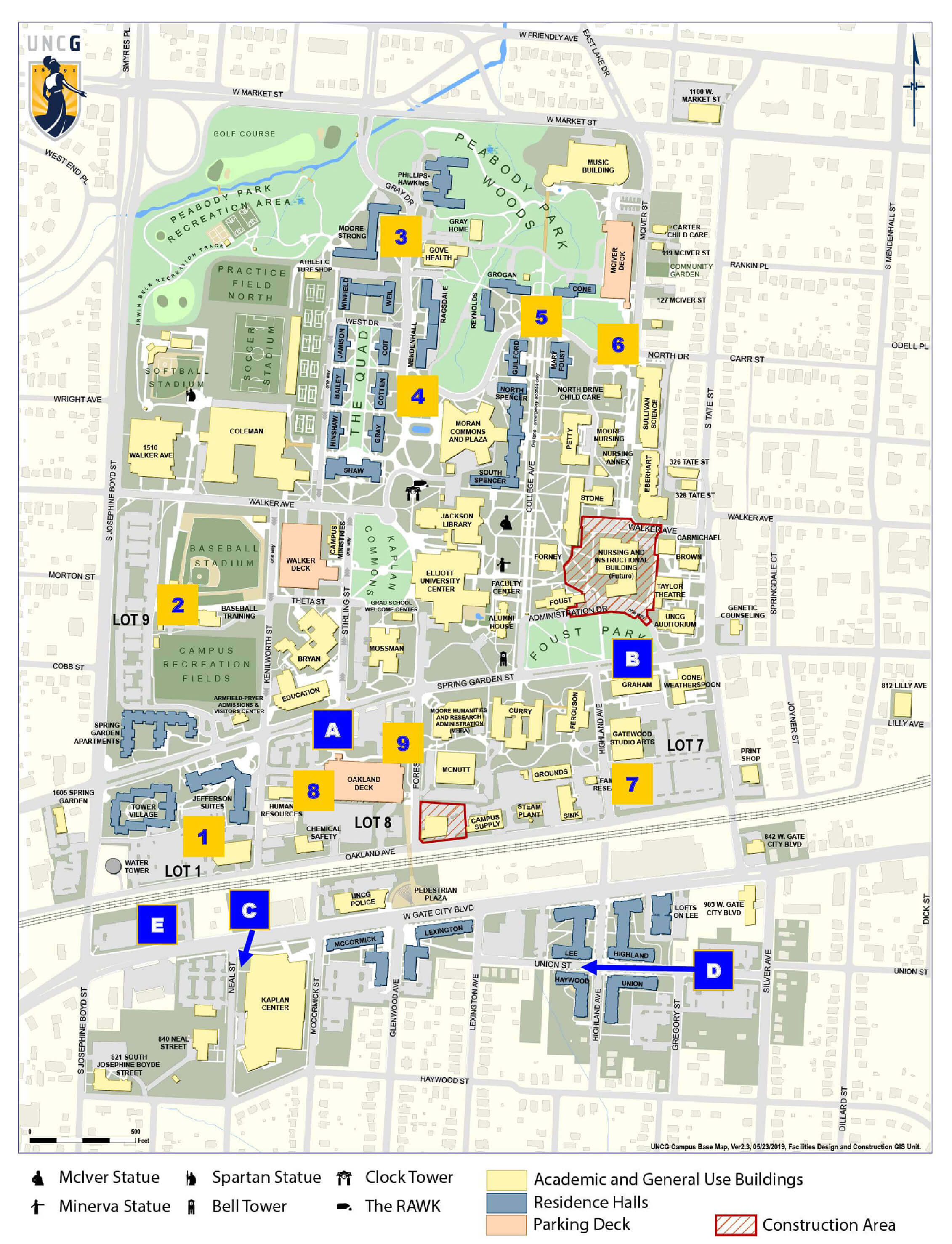 UNCG Fall Move-In Shuttle Map for Wednesday (8/14)